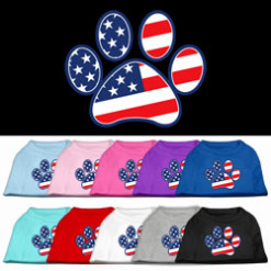 American Flag Dog Paw Screenprint t-shirt sleeveless dog multi-colors
