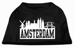 Amsterdam Skyline Silhouette Screen Print Dog Shirt Black
