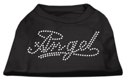 Angel halo rhinestone sleeveless dog t-shirt black