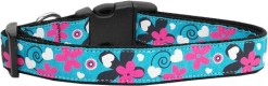 Aqua Flowers and Swirls Nylon Dog Collar