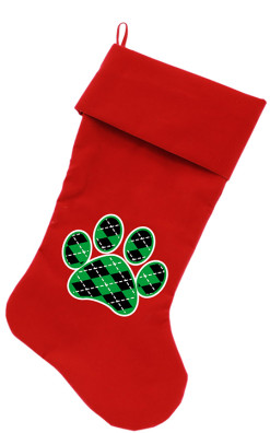 Argyle Green and Black dog paw Christmas stocking red