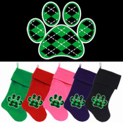Argyle Green and Black dog paw Christmas stockings