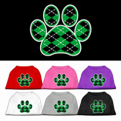Argyle green screen print dog t-shirt novelty dog paw