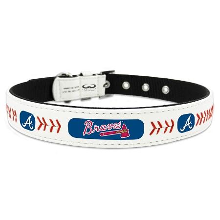 Atlanta Braves leather adjustable dog collar