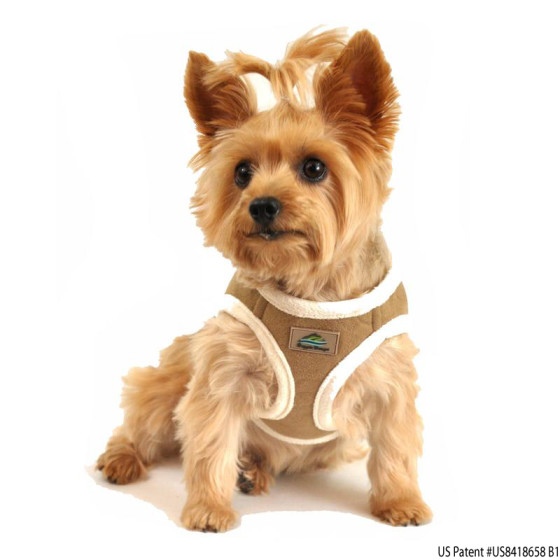 Beige Suede Choke Free Dog Harness