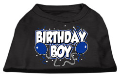 Birthday Boy blue balloons and confetti dog screen print t-shirt black