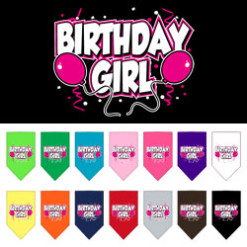 Birthday Girl Balloons dog bandanas