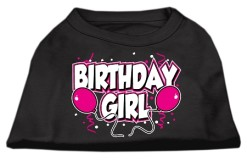 Birthday girl pink balloons and confetti dog screen print t-shirt black