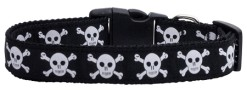 Black Skulls and Crossbones Dog Collar Adjustable