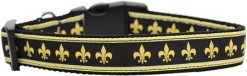Black and Gold Fleur de Lis adjustable dog collar Mardi Gras