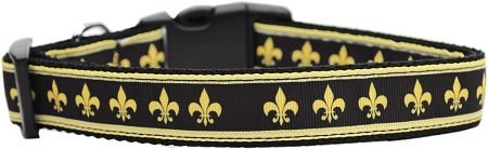 Black and Gold Fleur de Lis adjustable dog collar Mardi Gras