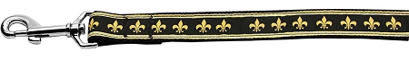 Black and Gold Fleur de Lis dog leash Mardi Gras