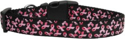 Black and Pink Breast Cancer Awareness ribbon dog collar