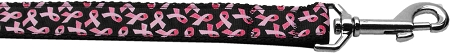 Black and Pink ribbons breast cancer awareness dog leash