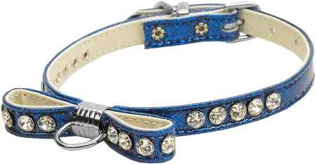 Blue Bow Dog Collar with Austrian Crystals