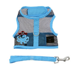 Blue and Black Pirate Octopus Cool Mesh Dog Harness and Leash front