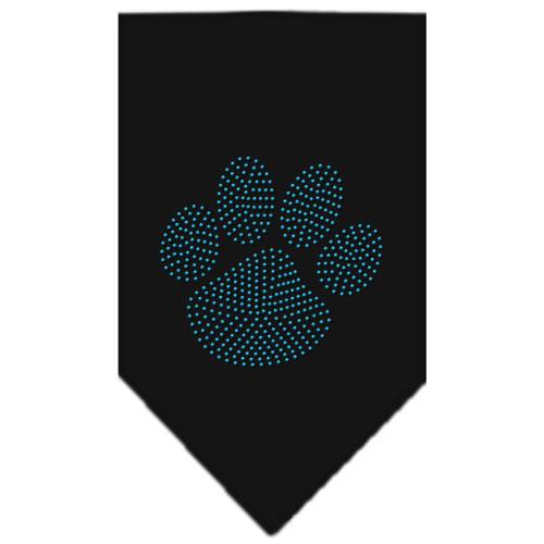 Blue rhinestone dog paw bandana black