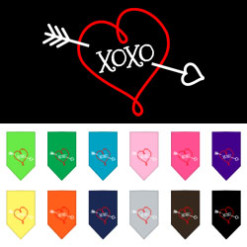 Bow and Arrow heart XOXO dog bandana