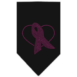 Breast Cancer Awareness pink ribbon heart rhinestone bandana
