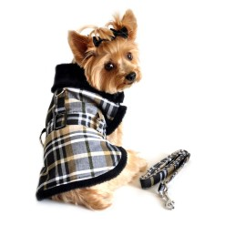 Brown and Black Plaid Faux Fur Dog Coat with Belt and Leash