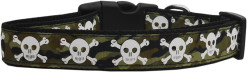 Camouflage Adjustable Dog Collar with Skull and Crossbones big