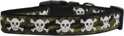Camouflage Adjustable Dog Collar with Skull and Crossbones big