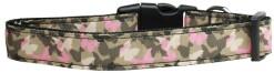Camouflage pink Butterflies adjustable dog collar