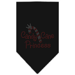 Candy Cane Princess rhinestone dog bandana black