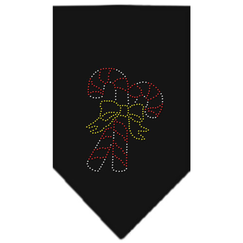 Candy Canes and yellow bow dog bandana black