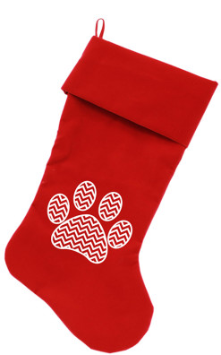 Chevron Dog Paw Christmas stocking red
