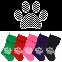 Chevron Dog Paw Christmas stockings
