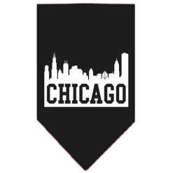Chicago Skyline dog bandana black