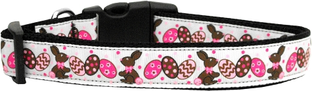Chocolate Bunnies & Eggs Nylon Adjustable Dog Collar