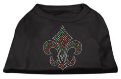 Christmas Fleur de lis rhinestones dog t-shirt black