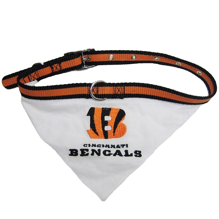 Cincinnati Bengals NFL adjustable dog collar and bandana