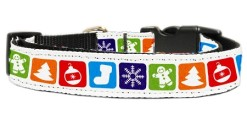 Classic Christmas Symbols adjustable dog collar