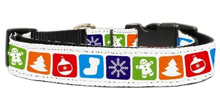 Classic Christmas Symbols adjustable dog collar