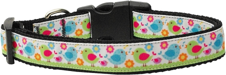 Colorful Chicks and Flowers Nylon Adjustable Dog Collar