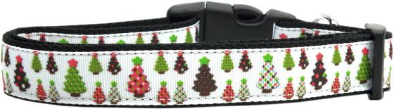 Colorful Christmas Trees Adjustable Dog Collar