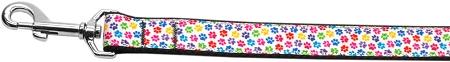 Colorful Dog Paw Print Nylon Webbing Dog Leash