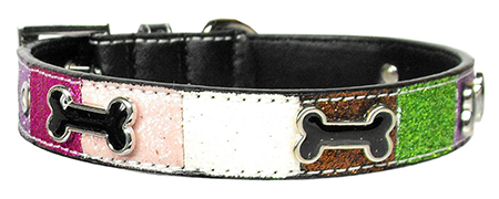 Colorful Glitter Faux Leather Dog Collar with Bones Accents