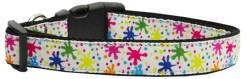 Colorful Paint Splatter adjustable dog collar