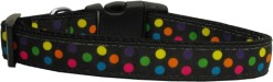 Colorful Polka Dot Nylon Adjustable Dog Collar