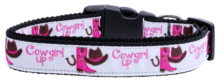 Cowgirl Up Adjustable Dog Collar with cowgirl hat, cowgirl boots, horseshoe