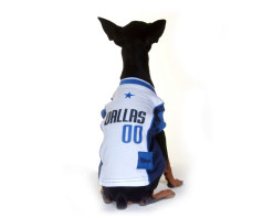 Dallas Mavericks dog jersey on