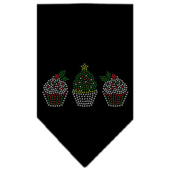 Decorative Christmas Cupcakes rhinestone dog bandana black
