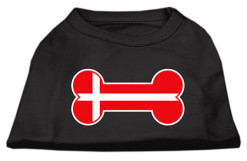 Denmark flag bone shape outline sleeveless dog t-shirt baby black