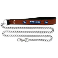 Denver Broncos leather dog chain leash