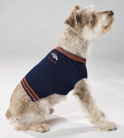 Denver Broncos turtleneck dog sweater on pet