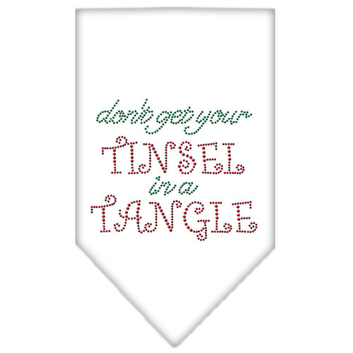 Don't Get Your Tinsel in a Tangle rhinestone dog bandana white